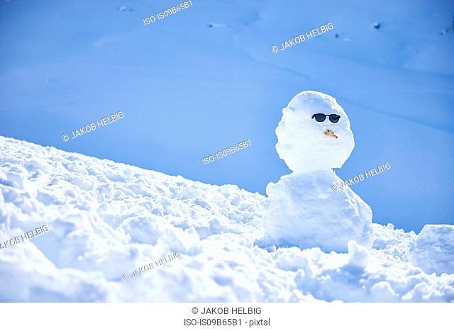 Snowman wearing sunglasses, Hintertux, Tirol, Austria