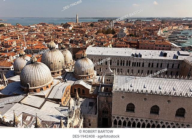 view from the bell tower in st. mark's square and the roofline of st. mark's basilica, venice italy