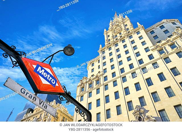 Metro Station at Gran Via Street, Madrid, Spain