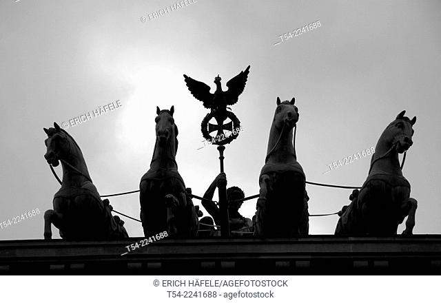 Silhouette of the Quadriga at the Brandenburg Gate in Berlin