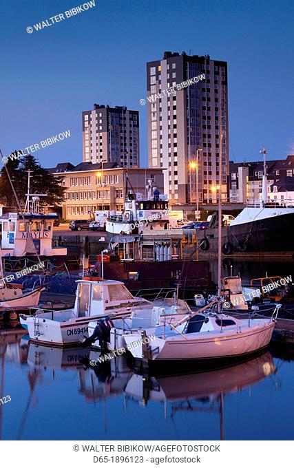 France, Normandy Region, Manche Department, Cherbourg-Octeville, Bassin du Commerce basin, boats, dusk