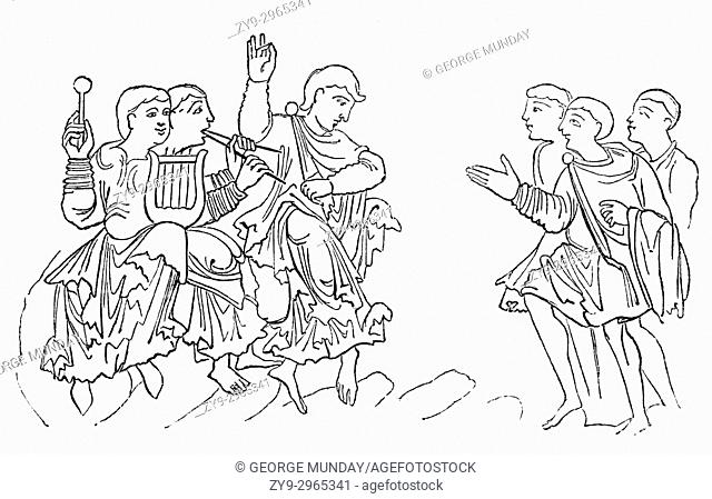 A cartoon of an Anglo Saxon's dancing in 8th Century England