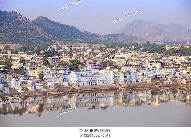 Aerial view of Pushkar, Pushkar, Rajasthan, India, Asia