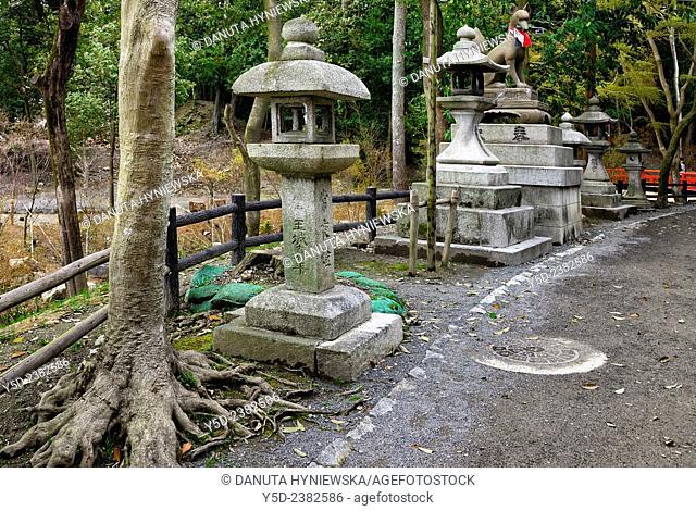 Granite lanterns and Fox along the park alley, Fushimi Inari-taisha Shrine, head shrine of Inari located in Fushimi-ku, Kyoto, Kansai Region, Japan