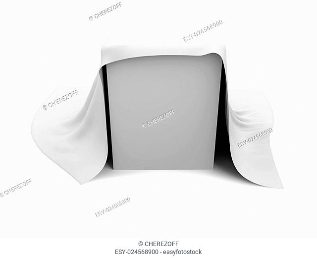 White box covered with a white cloth. Isolated render on a white background