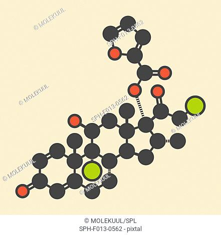 Mometasone furoate steroid drug molecule. Prodrug of mometasone. Stylized skeletal formula (chemical structure). Atoms are shown as color-coded circles:...