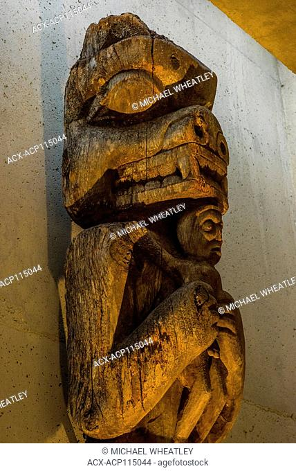 First Nations carved House Post Totem Pole, Museum of Anthropology, UBC, Vancouver, British Columbia, Canada