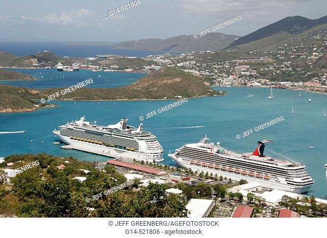 Cruise ships, Caribbean Sea. Charlotte Amalie Harbor. Paradise Point. St. Thomas. US Virgin Islands