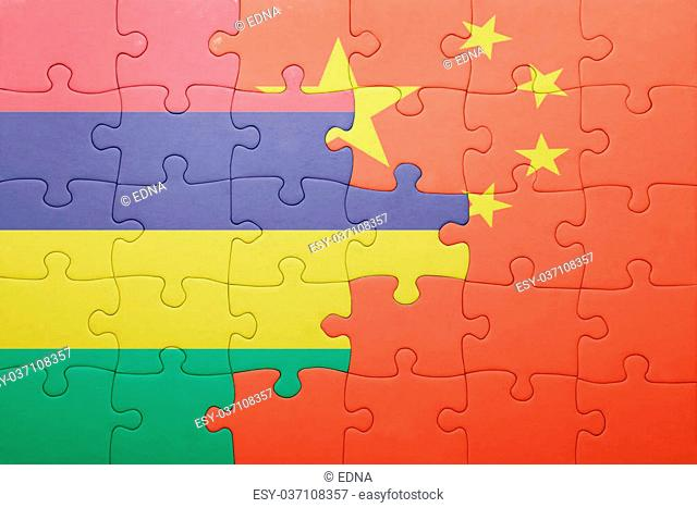 puzzle with the national flag of china and mauritius . concept