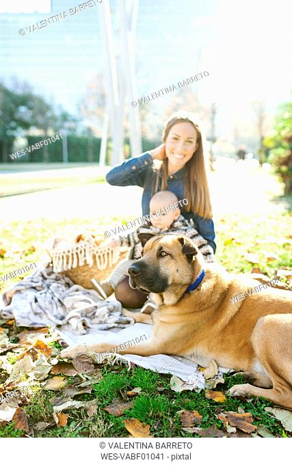 Happy woman with baby and dog in park
