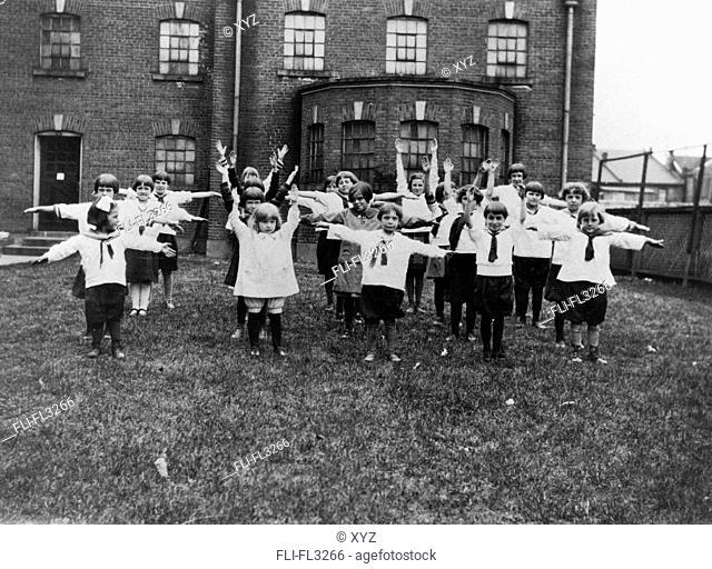 Children doing calisthenics