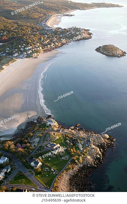 Aerial views of Good Harbor beach, Gloucester, MA, Cape Ann, USA