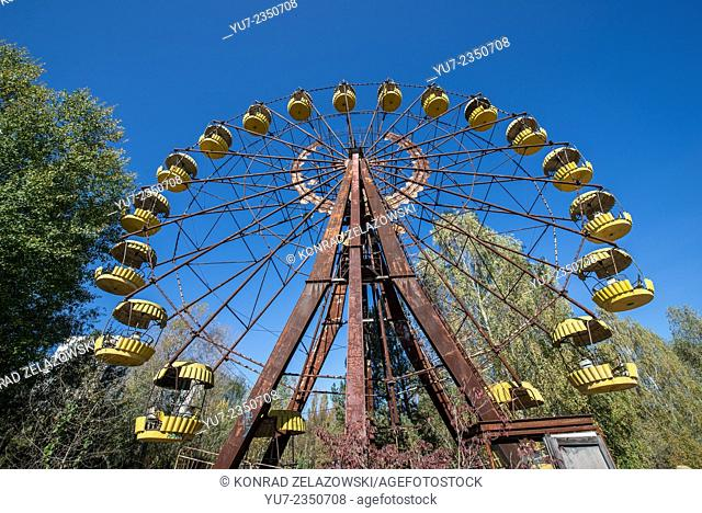 Ferris wheel in funfair in city park of Pripyat abandoned city, Chernobyl Exclusion Zone, Ukraine