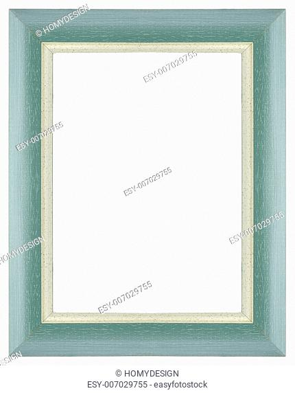 Green wooden frame for painting or picture on white background