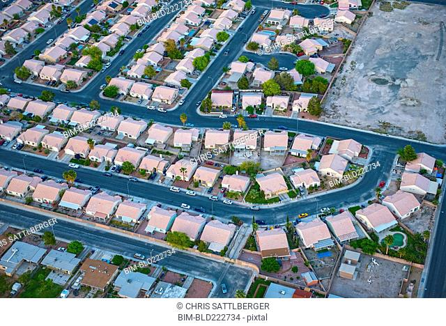 Aerial view of suburban houses, Las Vegas, Nevada, United States