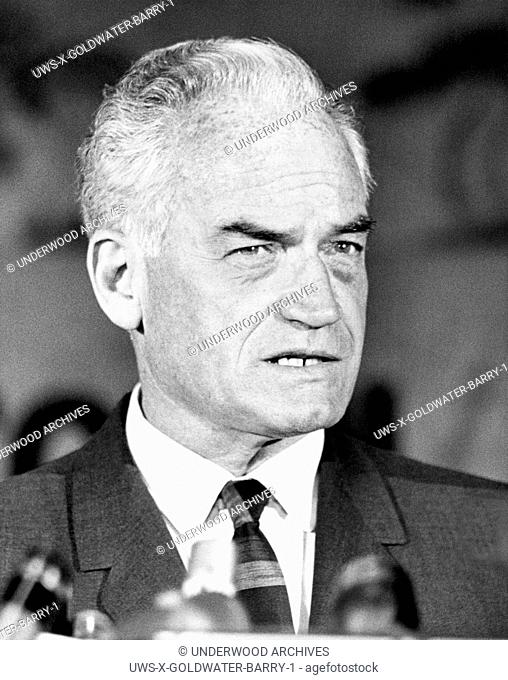 Los Angeles, California: May 19, 1964.Arizona Senator Barry Goldwater on the campaign trail during the California primary for the Republican Presidential...