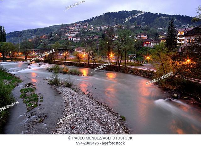 View of Cehotina river in Foca, Bosnia and Herzegovina