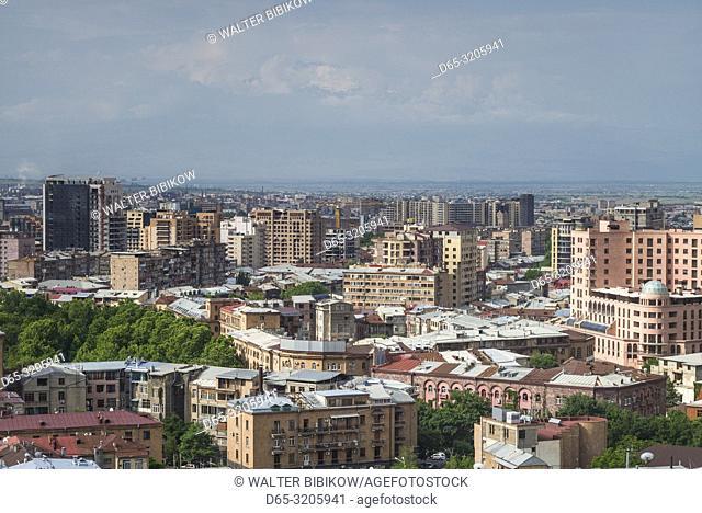 Armenia, Yerevan, The Cascade, high angle city view