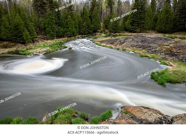 Junction Creek rapids in early spring, Greater Sudbury, Ontario, Canada