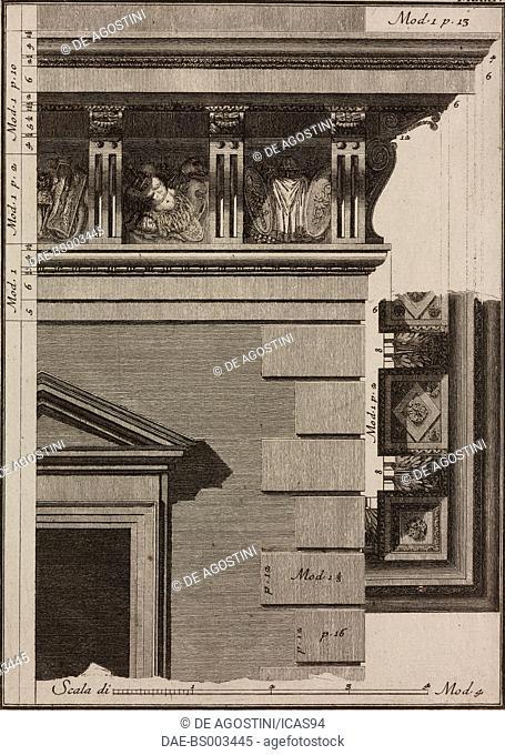 Doric-Corinthian cornice designed by Jacopo Barozzi da Vignola, engraving from Il Vignola Illustrato, by Giambattista Spampani and Carlo Antonini
