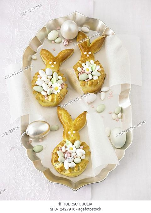 Easter bunny wreaths filled with small, sugared Easter eggs