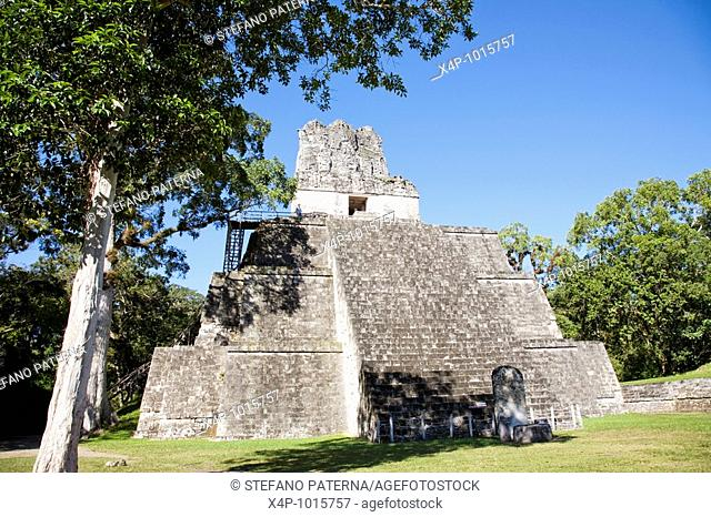 Temple II, Temple of the Masks construction at Tikal Archaeological Site  Guatemala
