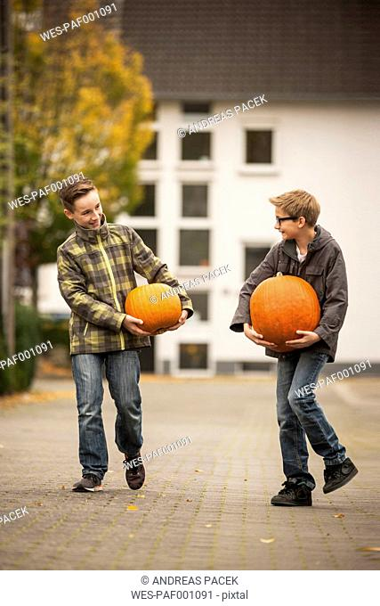 Two boys carrying two big pumpkins