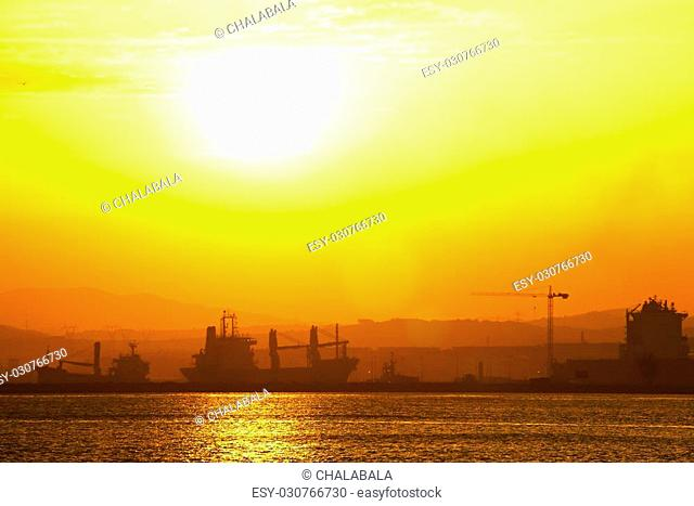 View from Gibraltar to the Spanish industrial zone