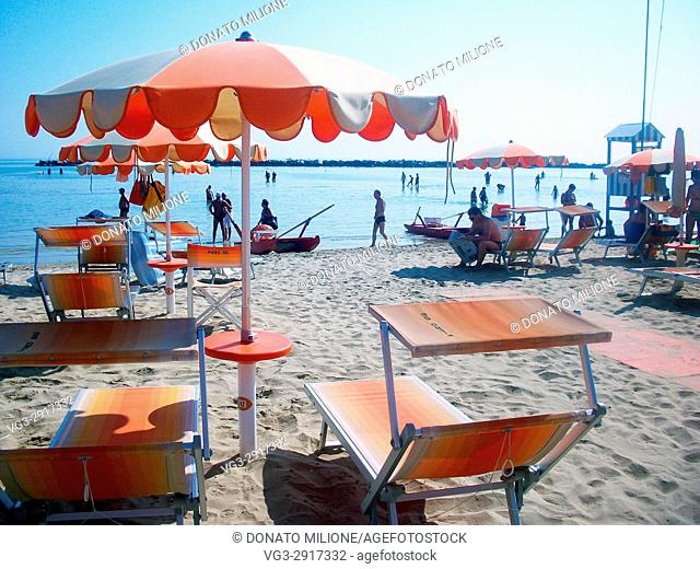 Igea Marina , Rimini, Emilia Romagna, Italy. A panoramic view of the beach on a summer afternoon