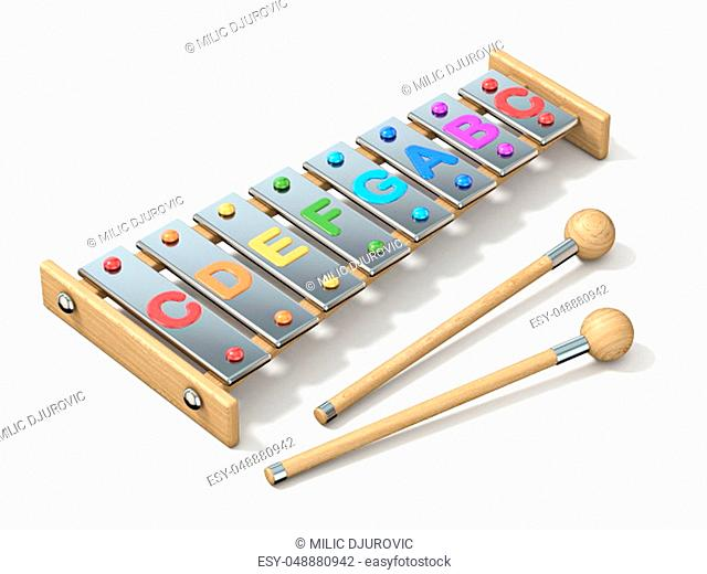 Colorful eight note, one octave xylophone 3D render illustration isolated on white background