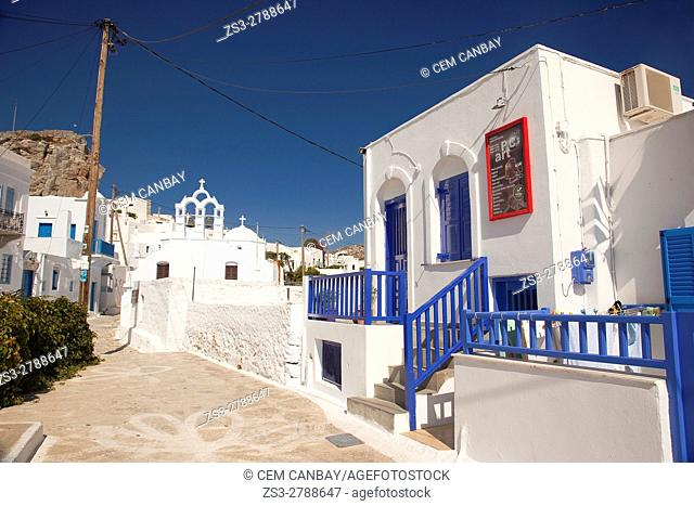 An Orthodox church and whitewashed houses at the old town Chora or Chorio, Amorgos, Cyclades Islands, Greek Islands, Greece, Europe