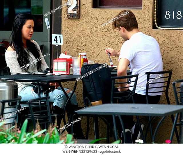 Garrett Clayton and Jade Moser have lunch at Crave Café in Studio City Featuring: Jade Moser, Garrett Clayton Where: Los Angeles, California