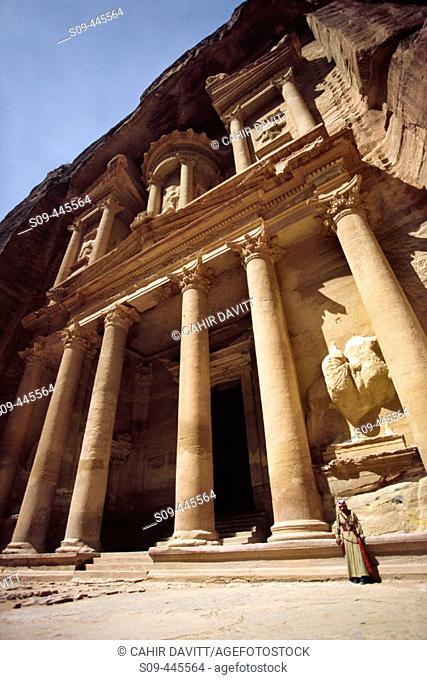 Façade of the Khasneh ('Treasury') at Petra. Jordan