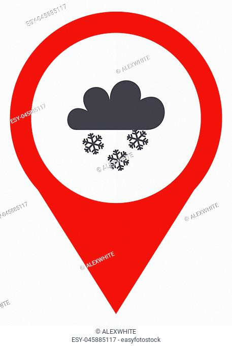 Snowing red web pointer icon. Webdesign button on white background