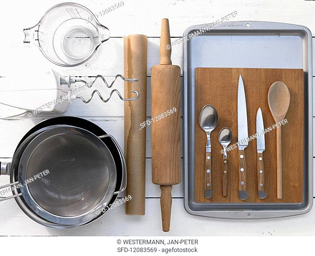 Assorted kitchen utensils for preparing traybakes