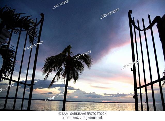 Gate and Cienfuegos Bay at sunset from Punta Gorda, Cuba