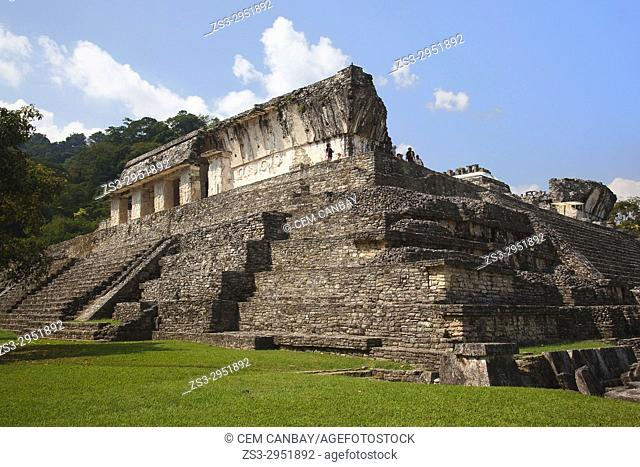 View to the tourists walking on the Palace in Palenque Archaeological Site, Palenque, Chiapas State, Mexico, Central America