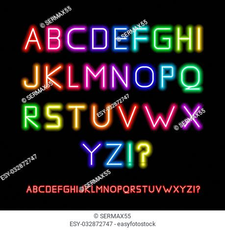 Realistic Neon Tube Letters. Alphabet, illustration