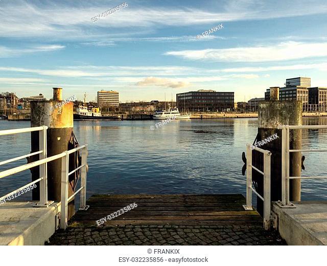 The harbor in Kiel in Schleswig-Holstein in Germany