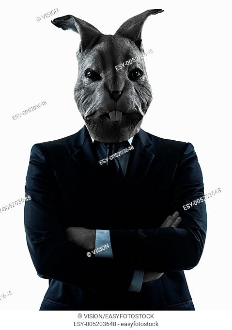 one causasian man rabbit mask portrait in silhouette studio isolated on white background