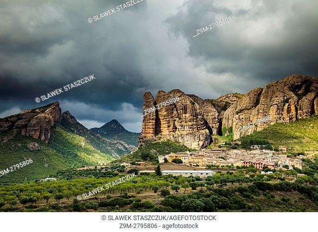 Stormy skies over Mallos de Aguero, Pyrenees, Spain