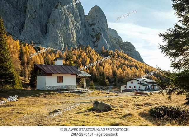 Autumn morning at Sorgenti del Piave mountain shelter in the Dolomites, Italy