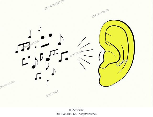 Ear with music notes. Music vintage style poster. Retro vector illustration