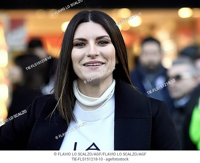 Laura Pausini attends an event organized at the Megastore Mondadori in Piazza Duomo with fans in Milan, ITALY-15-12-2018