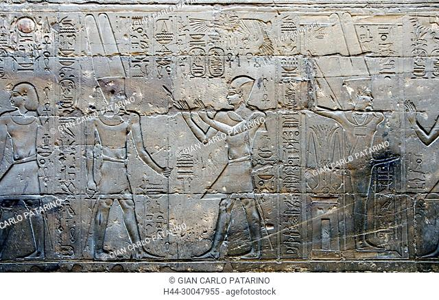 Luxor, Egypt. Temple of Luxor (Ipet resyt): the pharaoh Alexander the Great (356 - 323 b.C.) adoring the god Amon