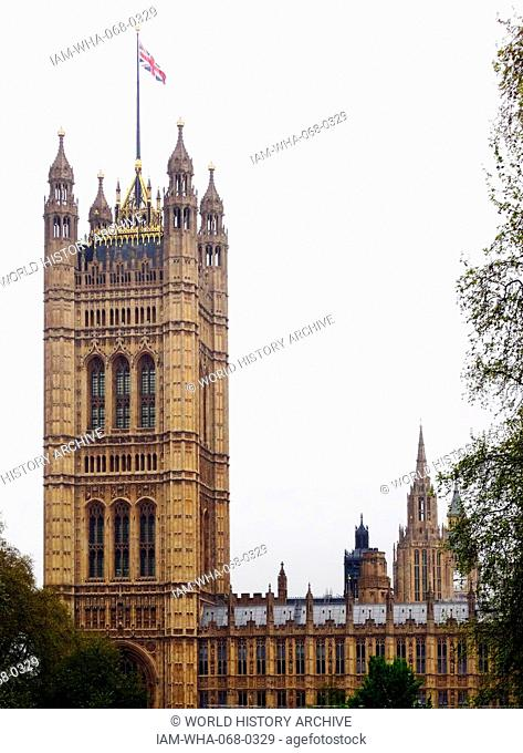 Photograph of the Palace of Westminster, the meeting place of the House of Commons and the House of Lords, the two houses of the Parliament of the United...
