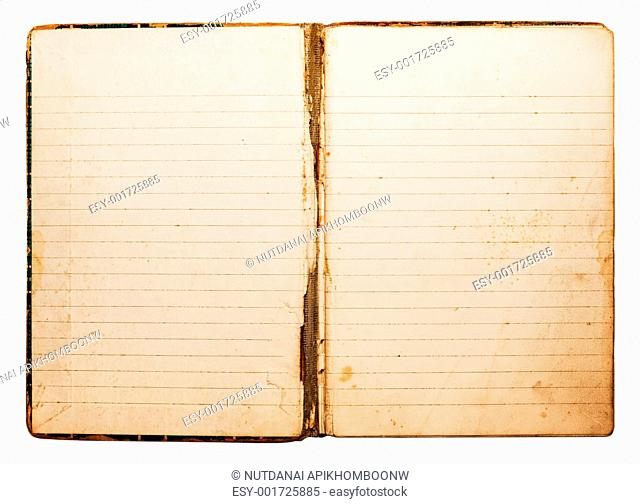 Isolated old antique vintage notebook