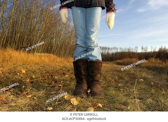 Young girl age 11 out for a Fall walk - Strathcona County, Alberta, Canada
