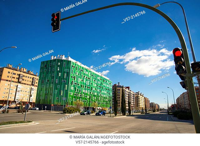 Ensanche de Vallecas avenue and Vallecas 51 building. Madrid, Spain
