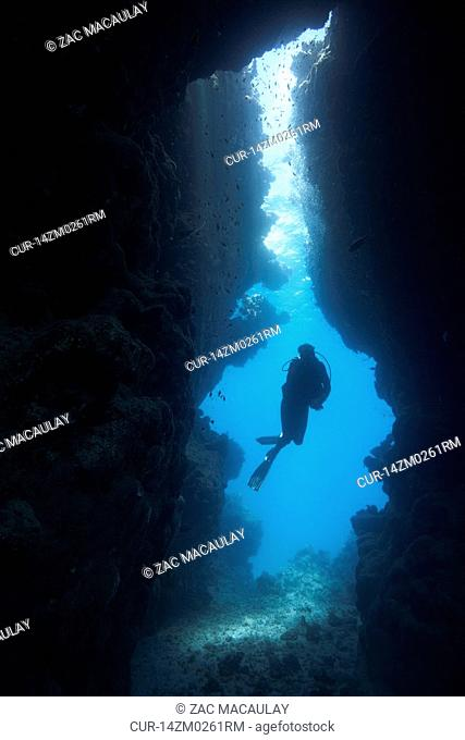 Diver in underwater cave